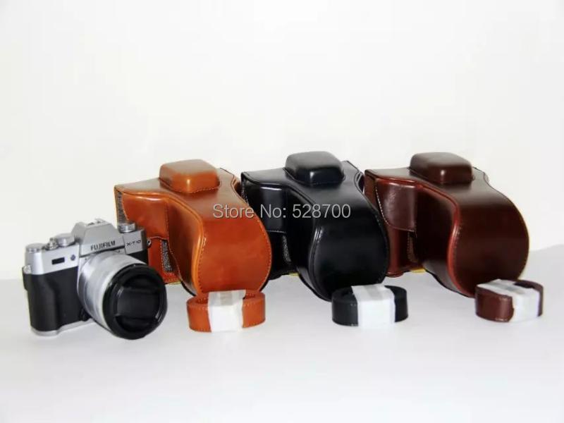 Cuoio Camera Bag Custodia + tracolla per Fujifilm Fuji XT10 X-T10 XT-10 18-55mm 16-50mm Lens