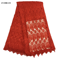 Hot sale 2017 new arrivals tissu african guipure lace fabric 5 yards free shipping High quality Red african cord lace A710DM11