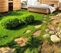 3d floor wallpapers Fresh green grass plant stereoscopic 3D living room bedroom floor tiles PVC wallpaper floor