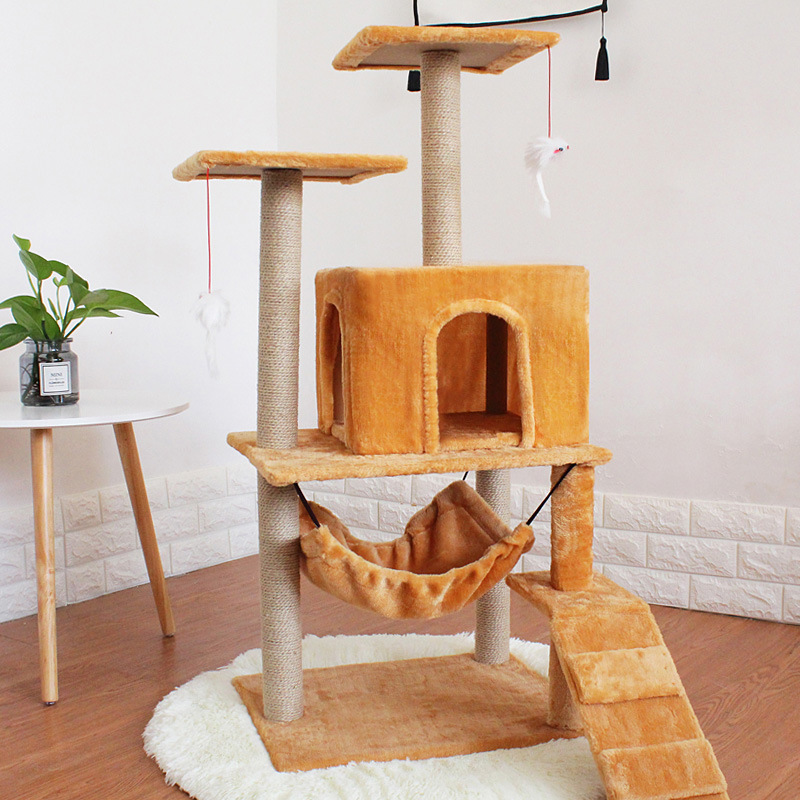 121 52 25 De Descuento 4 Gatos Que Usan Manta De Cama Para Gatos Rascadores De Casa De Juguete Fuerte Estructura De Suelo De Carga Muebles Para