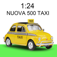 1:24 diecast Car NUOVA 500 TAXI Yellow Cars Alloy Metal Vehicle Collectible Models toys For Gift