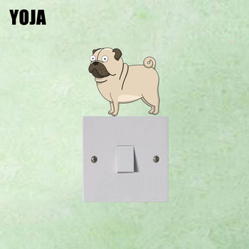 YOJA The Innocent Eyes Of The Puppy Decor Colored Switch Living Room Bedroom Wall Sticker Personalized 8SS0323 image