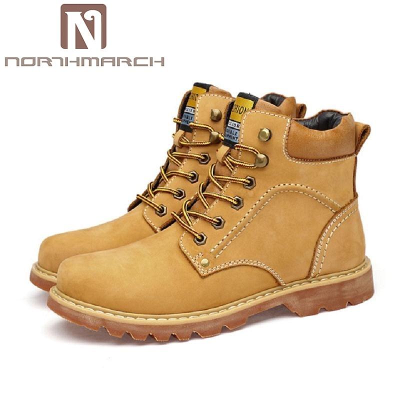 e2f4ecef93d7 NORTHMARCH Для мужчин сапоги из натуральной кожи Для мужчин s армейские  ботинки износостойкая Dr кожаные сапоги