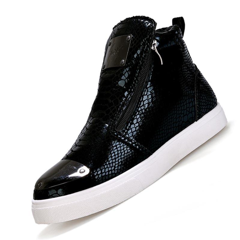 Hip Tops Italie Strass À Hop Chaussures argent or Hommes Argent Cheville Noir Bottes Rocheux Punk Noir Homme Or Automne Glissière Haute pwq1A6f
