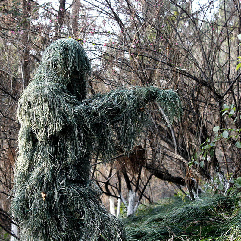 Tactical Camouflage Military Uniform Ghillie Clothes Secretive Hunting Aerial Suit Men US Army Military Combat Sniper Clothes-in Hunting Ghillie Suits from Sports & Entertainment    1