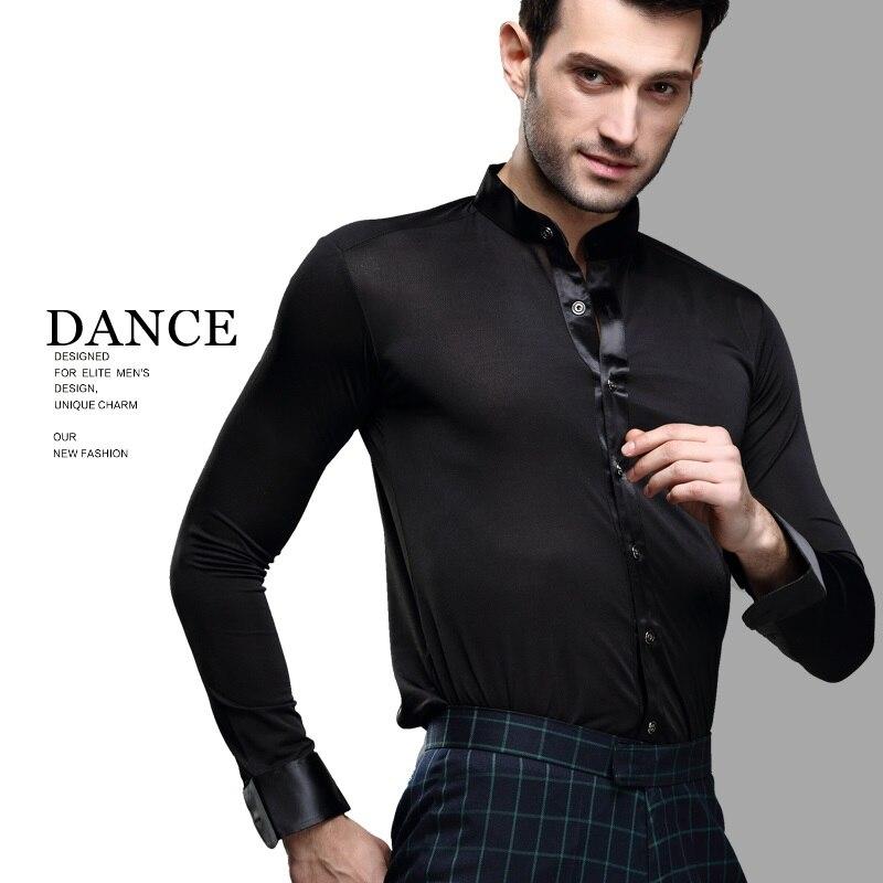9ef1e9d309 Baile latino negro camisas hombre manga larga baile chaqueta hombres ...