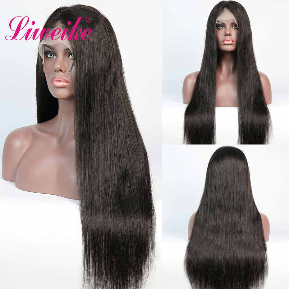 Liweike Straight Remy Human Hair Transparent Lace Front Wigs 150% Density Full Ends Silky Pre Pluncked Lace Frontal Wig Glueless
