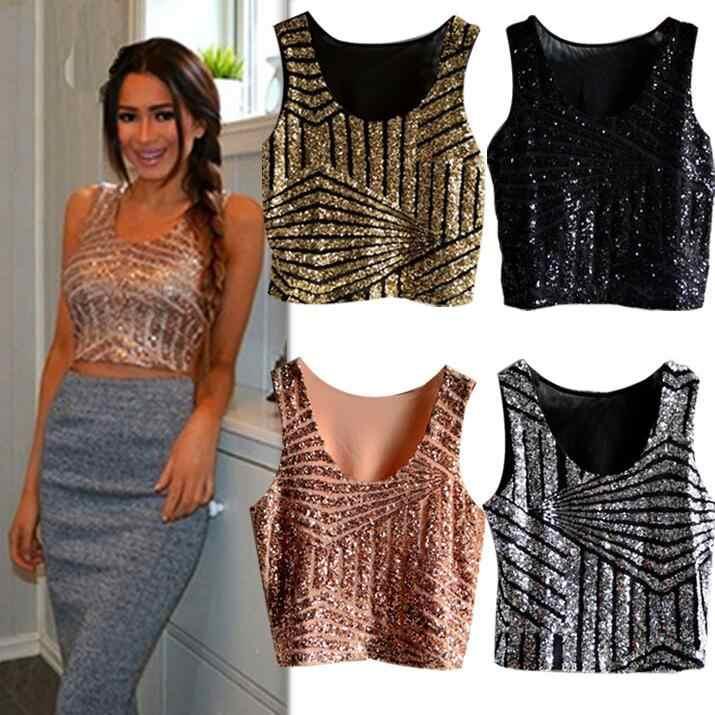 Hot Koop Goedkope Vrouwen Tank Top Zomer Vest Zwart Gold Sequin Crop Top Sexy Nachtclub Kostuum Kleding