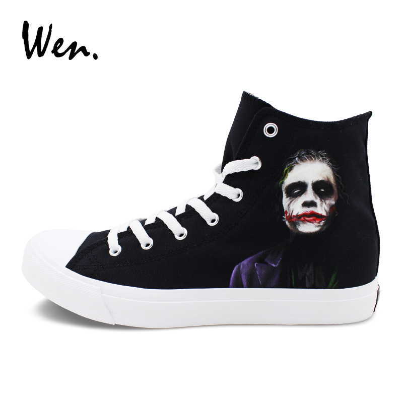 Wen Canvas Shoes Black Men Women's Athletic Sneakers Design Joker Hand Painted Shoes Flat High Top Lace Up Skate Footwear black v neck lace up design cami top