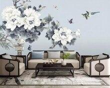 Купить с кэшбэком Beibehang wallpaper hand-painted pen peony flower TV background wall living room bedroom decoration 3d wallpaper papel de parede