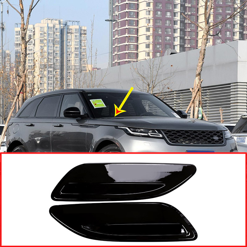 For Range Rover Velar 2017 2018 Car Accessories ABS Gloss Black Chrome Hood Air Vent Outlet Wing Trim 2pcs carbon fiber style rear row air conditioning vent outlet frame cover for land rover range rover velar 2017 2018 car accessories