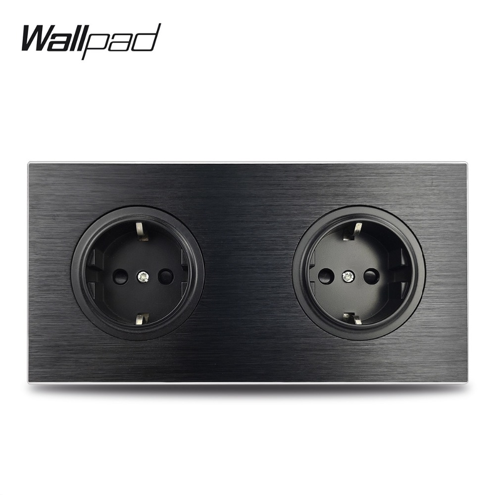 Wallpad L6 Black Metal Double EU Schuko Wall Electrical Power Socket Satin Aluminum Frame Dual Plate, 172 * 86 Mm