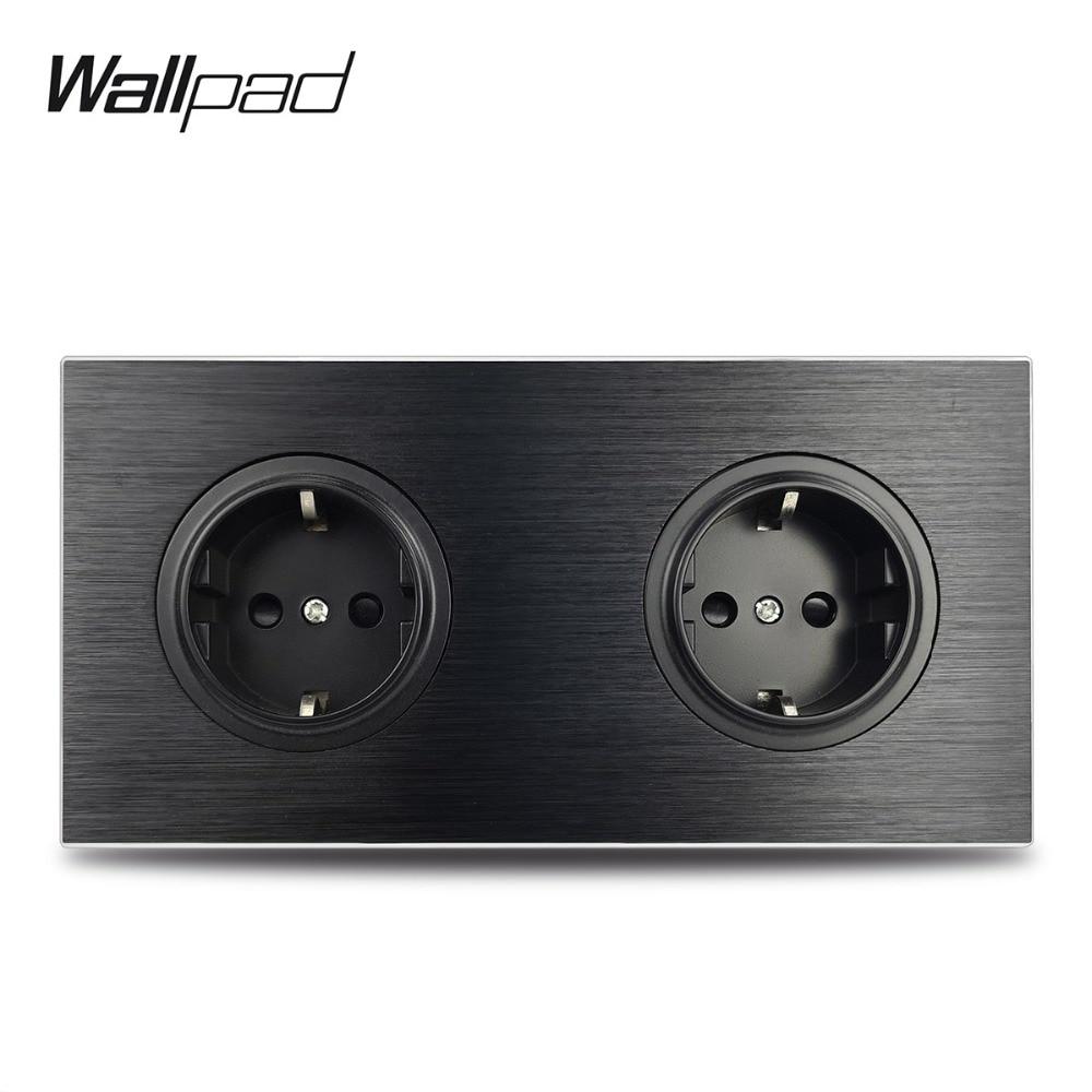Wallpad L6 Black Metal Double EU Schuko Wall Electrical Power Socket Satin Aluminum Frame Dual Plate, 172 * 86 Mm