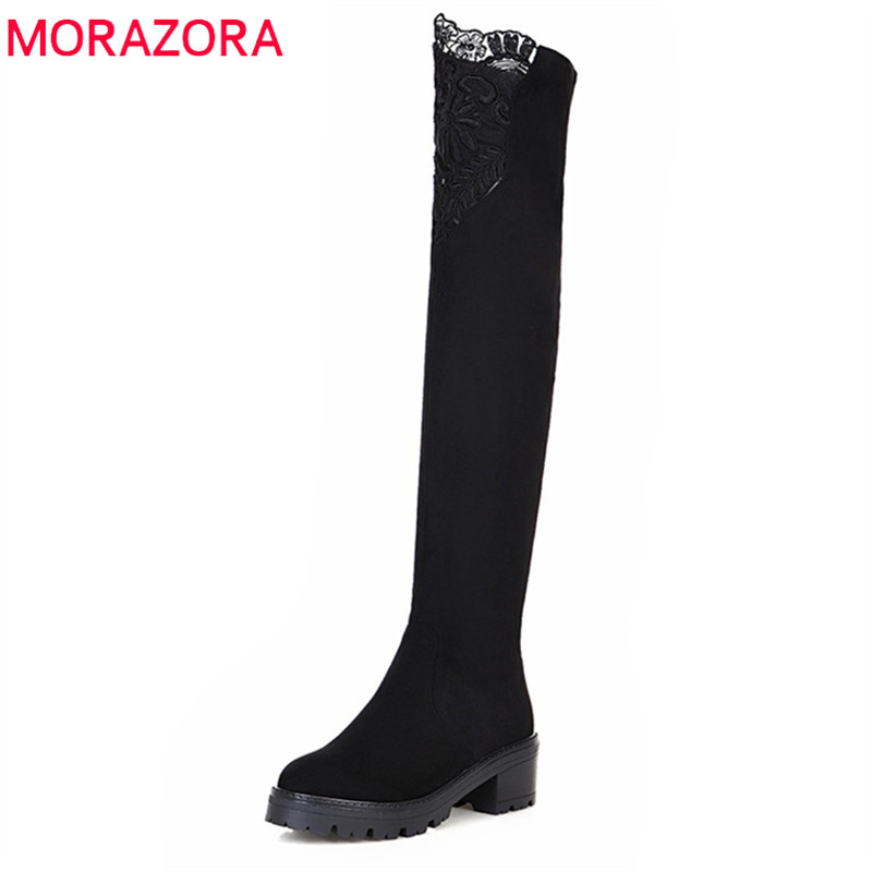 MORAZORA 2018 new arrival thigh high over the knee boots women flock round toe Stretch socks boots autumn winter shoes woman MORAZORA 2018 new arrival thigh high over the knee boots women flock round toe Stretch socks boots autumn winter shoes woman