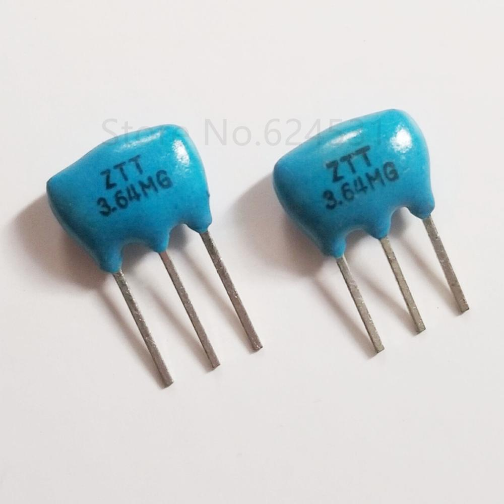 10pcs Ceramic Crystal Oscillator ZTT3.64M Ceramic Oscillator Crystal Resonator Straight Three Feet 3.64MHZ