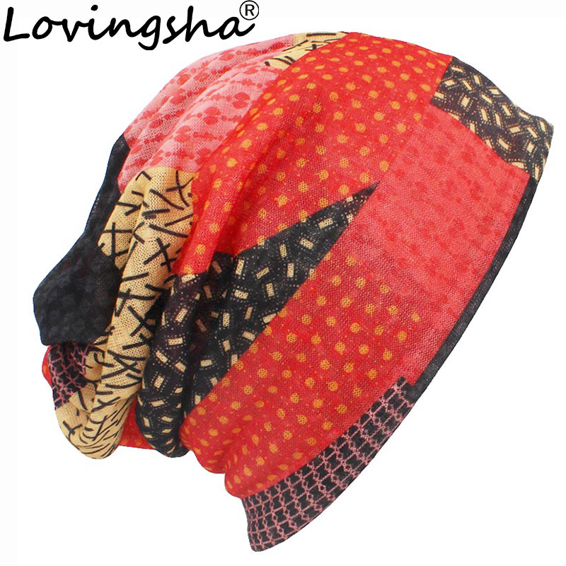 LOVINGSHA Autumn Winter Thin Men   Skullies     Beanies   Fashion Design Hats For Women Fashion Feminino Multifunction Scarf HT108