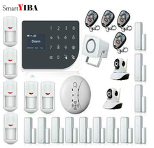 SmartYIBA Wifi GSM GPRS Allarme Wireless Home Security Alarm System With Security Cameras Smoke Detector Door Open/Close Sensor