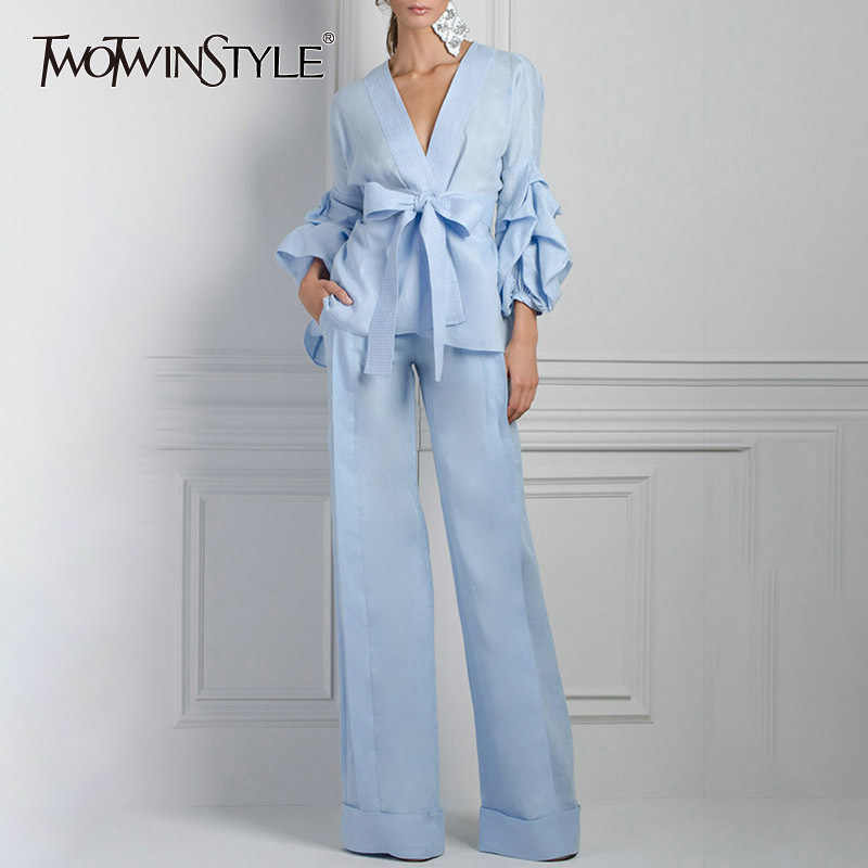 TWOTWINSTYLE Kimono Blouse Wide Leg Pants Women Two Piece Lantern Sleeve  Lace up Shirt Tops Female a4914854a821