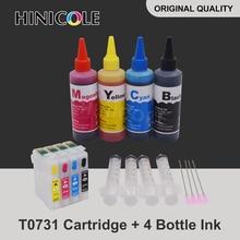 73N T0731 Ink Cartridge for Epson CX3900 CX5900 CX4900 CX4905 CX3905 TX100 TX110 TX200 TX210 TX400 Printer+ Refill Dye Ink Kit