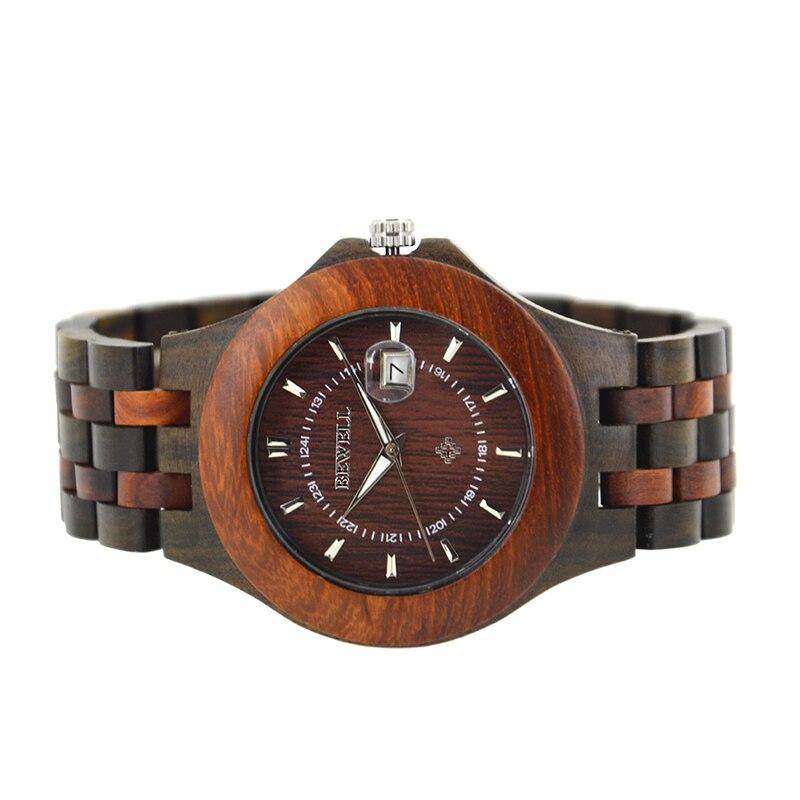 BEWELL Top Luxe Merk Heren Houten Horloges Heren Waterdicht quartz - Herenhorloges - Foto 4