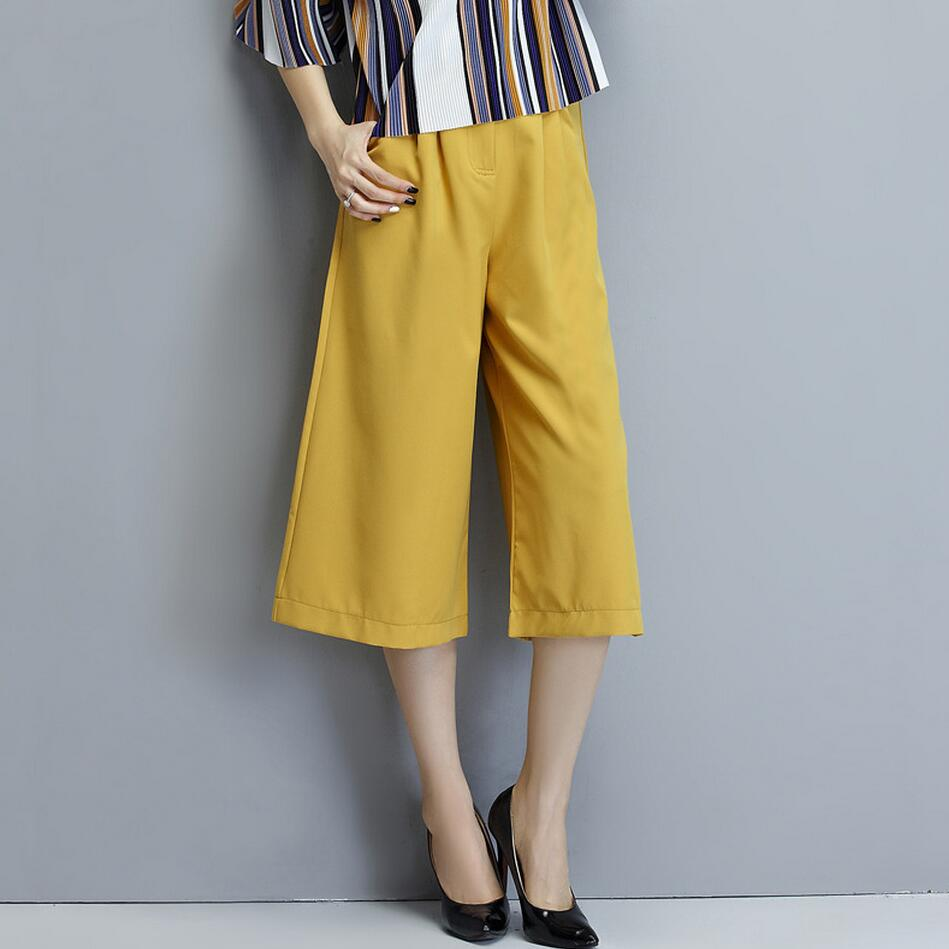 f86b3a0e28a Yellow Wide Leg Pants Women 2016 Brand Design Oversize Trousers Lady Casual  Pockets High Waist Straight Calf-Length Loose Pants