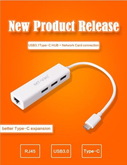 USB 3.1 Tipo-C para 3 Portas USB 3.0 Hub & RJ45 Lan cartão Adaptador de Rede Gigabit USB-C OTG Conversor Cabo de Dados para MacBook Tablet