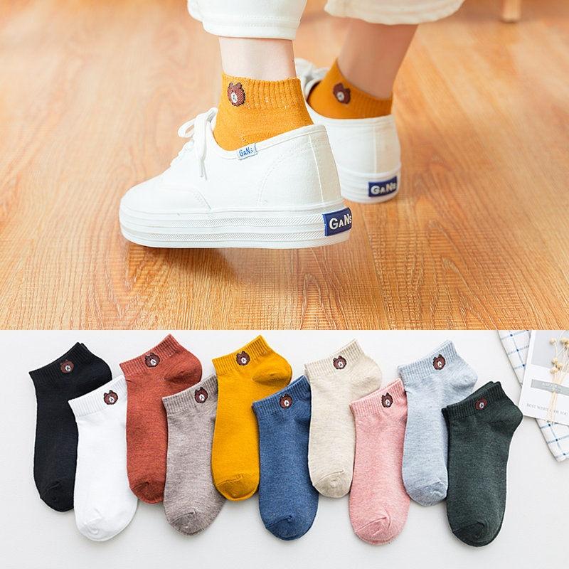Women Socks Bear Ankle Cute Summer Short Harajuku Korean Style Women Funny Sock Pink E Girl Free Shipping Streetwear Vintage