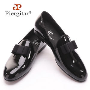 Piergitar patent leather loafers with black men dress shoes c8106ea19a48