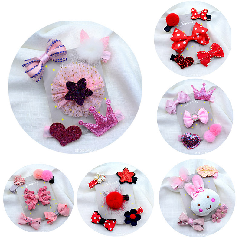 5Pcs//Set Kids Infant Hairpin Baby Girl Hair Clip Bow Flower Mini Barrettes Star