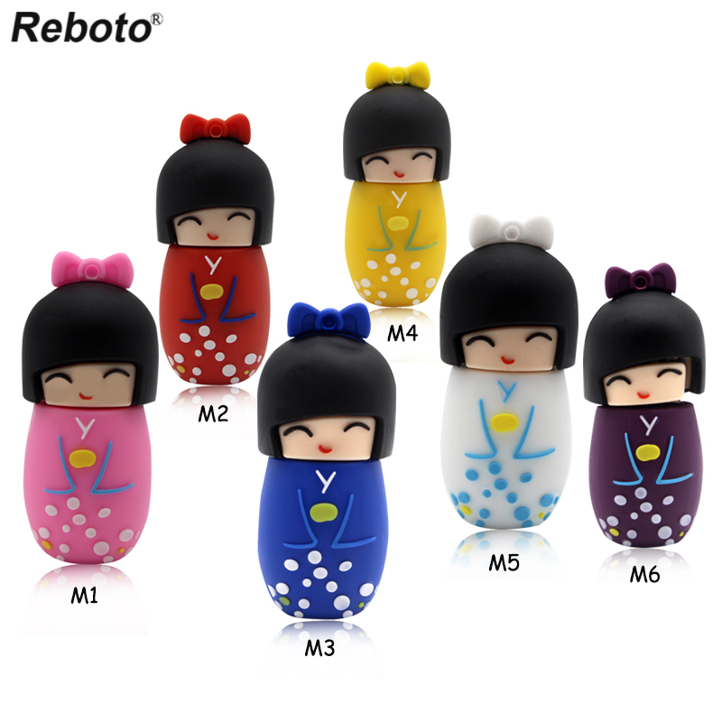Hot Sale Gift Pen Drive Beauty Japanese Doll USB Flash Drive Memory Stick 4GB 8GB 16GB 32GB 64GB Pendrive Thumb Drive