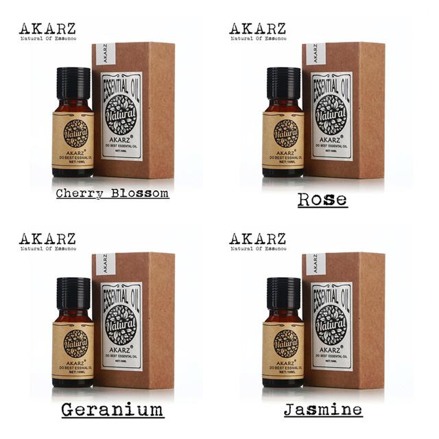 Akarz famosa marca pura flor de cerejeira rosa gerânio óleos essenciais aromaterapia óleo essencial de jasmim, massagem, Spa, banho 10 ml * 4