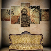 5 panel waterproof ink modern classical Buddha painting On Canvas Frameless Wall Art For Living Room Decor
