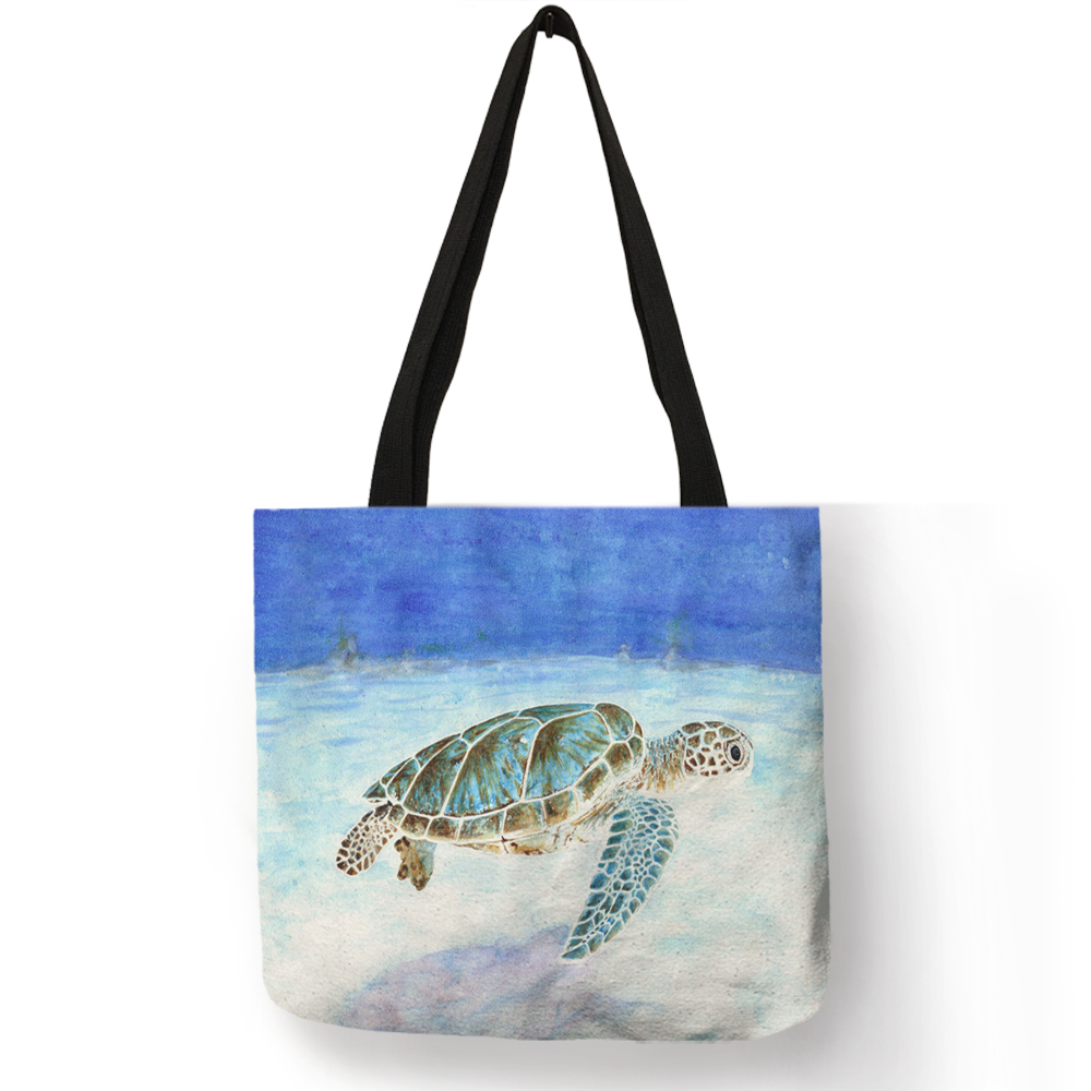 Women Tote Bag Sac A Main 2018 Sea Animal Turtle Whale Octopus Shoulder Bag Eco Linen Daily Office Reusable HandbagWomen Tote Bag Sac A Main 2018 Sea Animal Turtle Whale Octopus Shoulder Bag Eco Linen Daily Office Reusable Handbag