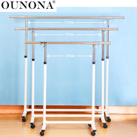 OUNONA Multi function Retractable Drying Rack Cloth Drying Stand Clothes Laundry Hanger with Wheels for Indoor Outdoor