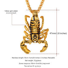 Scorpion Statement Necklace & Pendant Gold/Black Color Stainless Steel Vintage American Style Steampunk Men Chain Jewelry P75