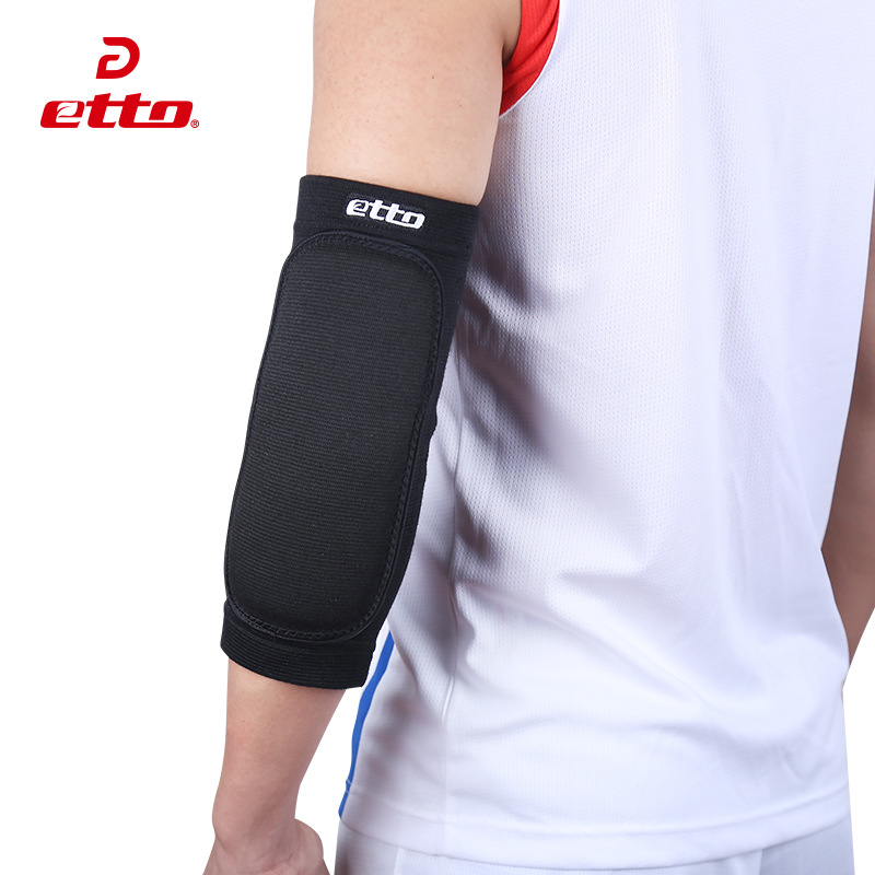 Etto 1 Pair Elastic Breathable Elbow Pads For Volleyball Basketball Thickened Sponge Protection Elbow Support Sport Kits HBP040