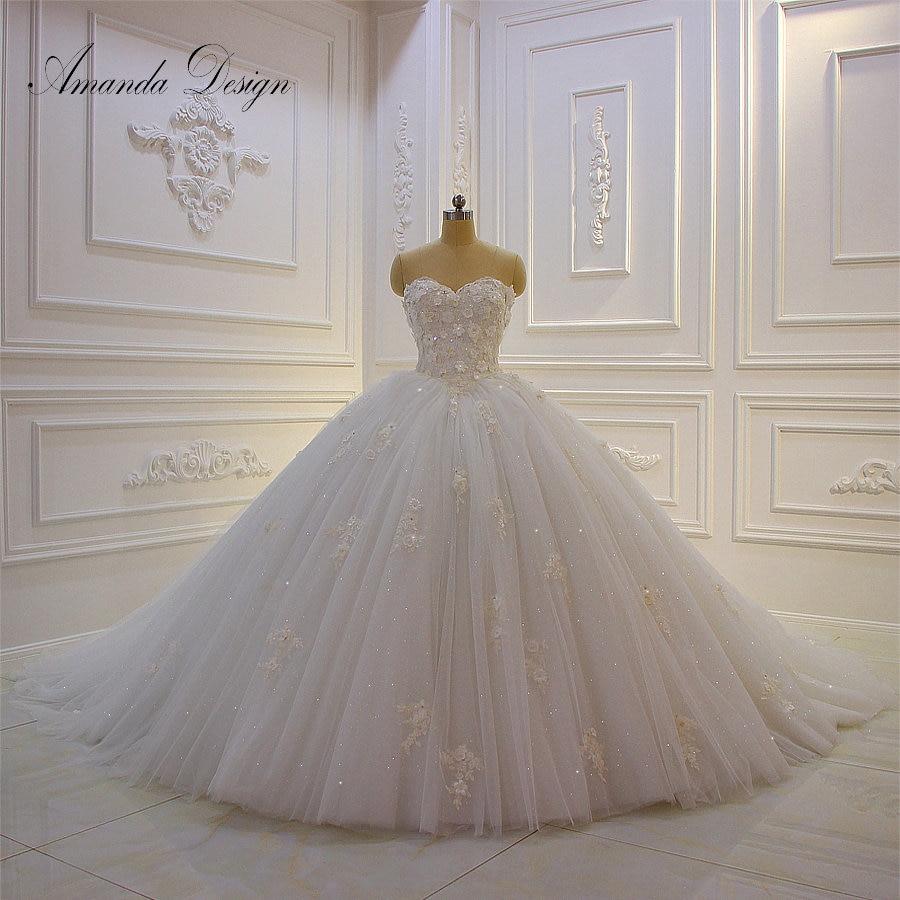 Amanda Design vestido de novia manga larga Strapless Lace Applique Puffy Ball Gown Wedding Dress