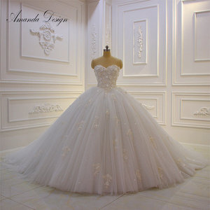 Image 1 - Amanda Design vestido de novia manga larga Strapless Lace Applique Puffy Ball Gown Wedding Dress