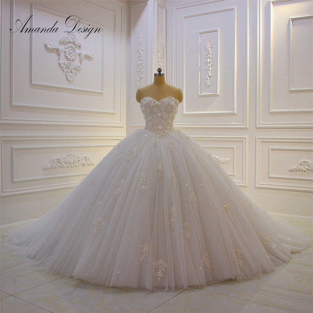 Amanda Design vestido de novia manga larga Strapless Lace Applique Puffy Ball Gown Wedding Dress