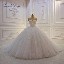 أماندا تصميم vestido دي نوفيا مانغا لارغا حمالة الدانتيل زين منتفخ الكرة ثوب الزفاف