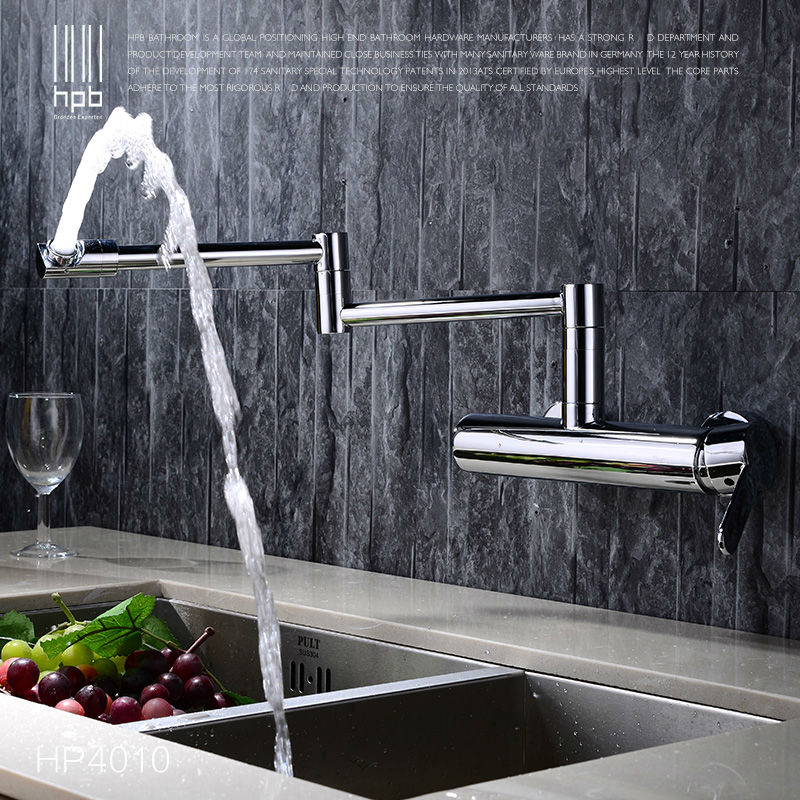 HPB Contemporary Brass Folding Kitchen Mixer Tap Sink Faucet Wall Mounted Single handle Single Hole Hot and Cold Water HP4010 new arrival kitchen faucet brass wall mounted black oil brushed hot and cold single lever kitchen sink faucet basin faucet mixer