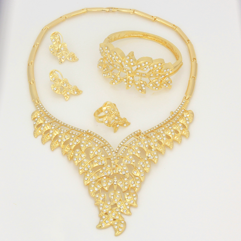 2018 New Dubai Leaf Golden Women Crystal Necklace Jewelry African
