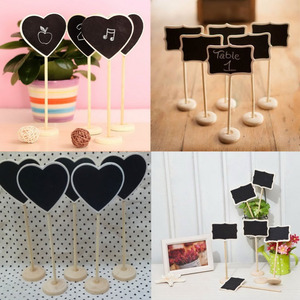10pieces Mini Heart Shape Wooden Wood Chalkboard Blackboard Table Number Place Card Holder With Base for Wedding Birthday Party