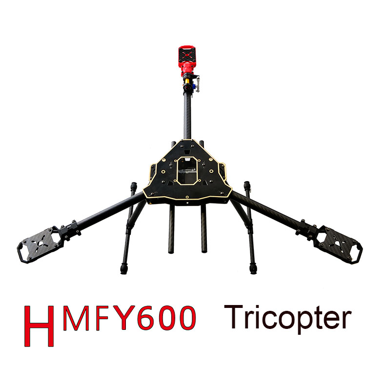 F10811 HMF Y600 Tricopter 3 axle Copter Frame Kit High Landing Gear & Camera Gimbal Hanging Rod  Mount DIY FPV RC Drone Y3 f10811 hmf y600 tricopter 3 axle copter frame kit w high landing gear