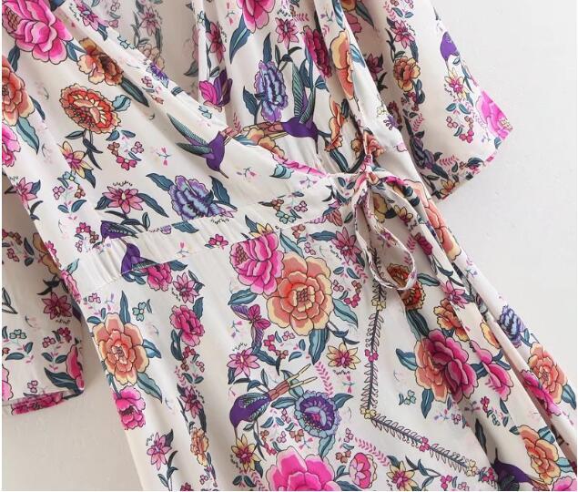 Cuello Camisa Vestido Kimono Étnico Blanco Wrap Bohemio Hendidura Media Vestidos Impresión Manga As Picture Larga Cruz Pico Flor 2018 Mujer Vacaciones Frontal TfB5zw