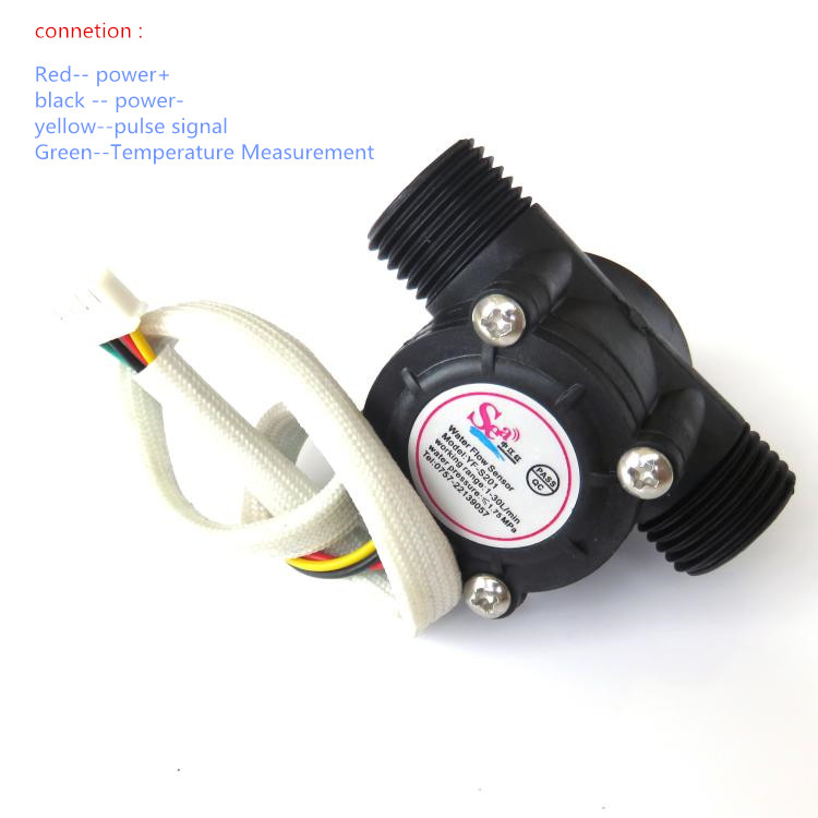 DN15 G1/2 Water Flow Meter Sensor Hall Flowmeter Water Control Washroom Flow Sensor Counter With Temperature Probe 1-30L/min mj db32 g1 1 4 use for hot water project water circulation with high accuracy air flowswitch mass air flow sensor flow switch