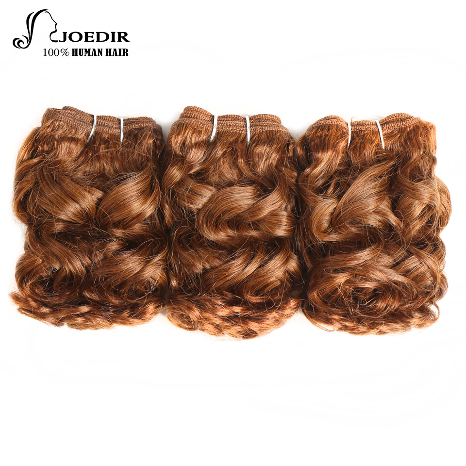 Joedir Hair Bundles Peruvian Human Hair Spiral Curl 3 Bundles color 30 100g 1 Pack Pre-Colored 6inch Red Curl Hair Weave