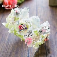 HIMSTORY Pizzo FlowerBridal Rotondo Tiara Vintage Bambini Wedding Crown Accessori per Capelli Monili Barocco Donne Copricapo