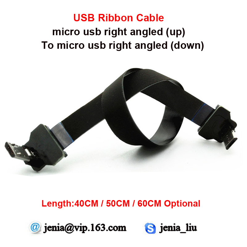 40CM/50CM/60CM Flexible Super Soft Metal USB Data Cable Micro Up Angled Male To Micro Down Angled Fpv Ultra Thin Cable