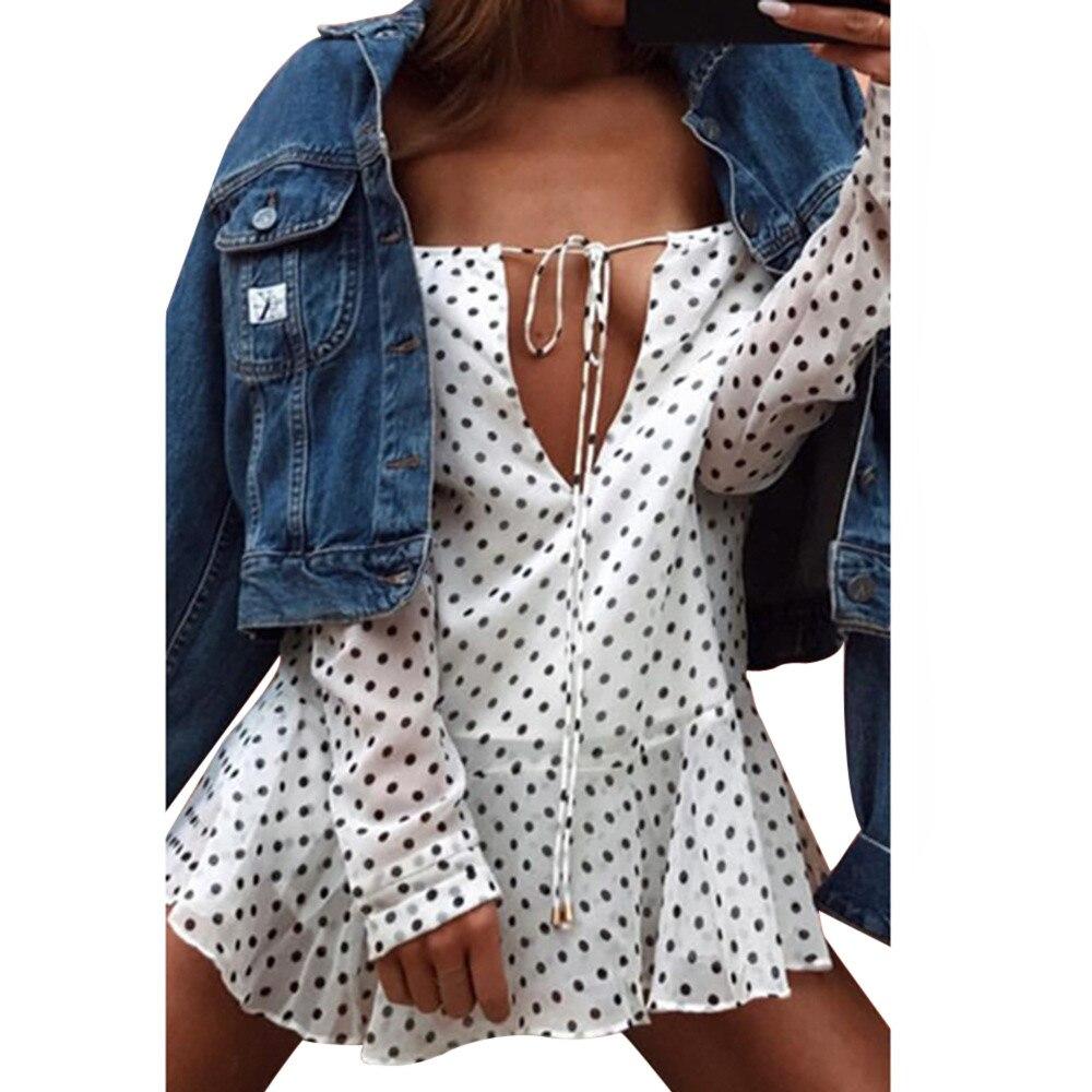 Women Sexy Short Beach Dress Fashion New Bandge Long kawaii dress Sleeve Off Shoulder Polka Dot Mini Dress vestidos verano 2019